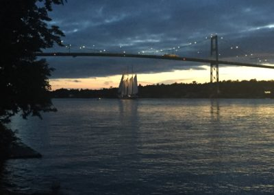 Sailing past Thousand Island Bridge RDV2017 Tallships Regatta